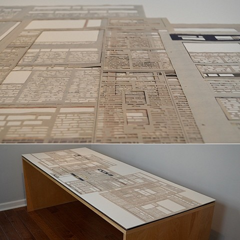 Skye Gilkerson, Citizens and Pioneers 2011, hand-cut newspaper page from each place the artist has lived