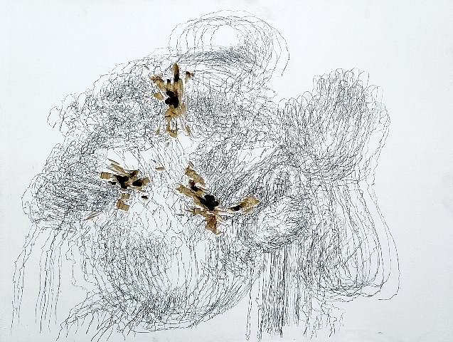 Amelie Chabannes 2012, traditional gesso, transferred graphite on vandalized wood panel