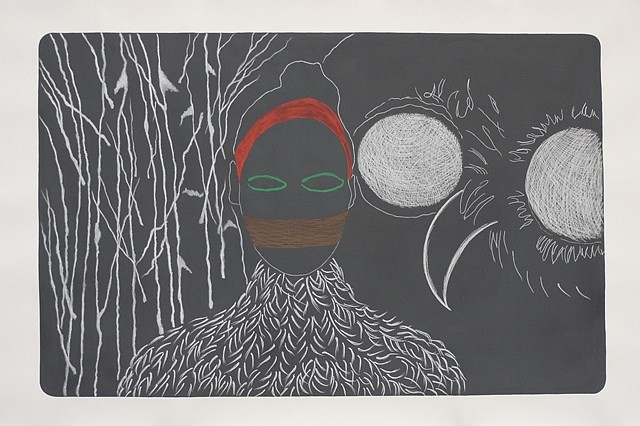 Beatrice Maleyre, Self Portrait in Birch Forest 2011, Tempera