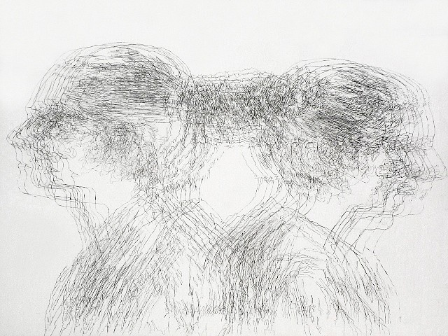 Amelie Chabannes 2012, traditional gesso, transferred graphite on wood panel