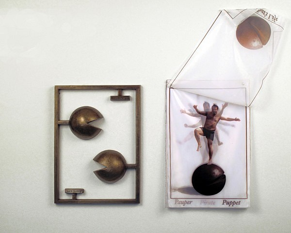 Christopher Saucedo, That's Life 2009, bronze and ink-jet prints on sheer fabric