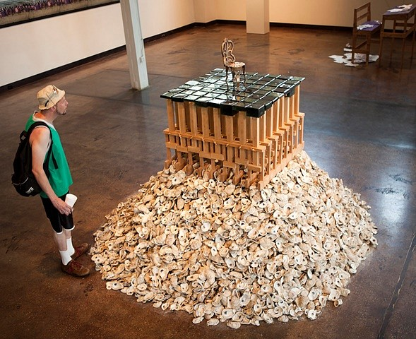 Christopher Saucedo, New Orleans 2010, oyster shells, wood, glass and bronze