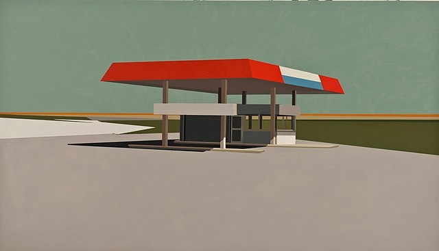 Mark Bradley-Shoup, Summer Gray Gas Station in Patina Blue 2012, oil on panel