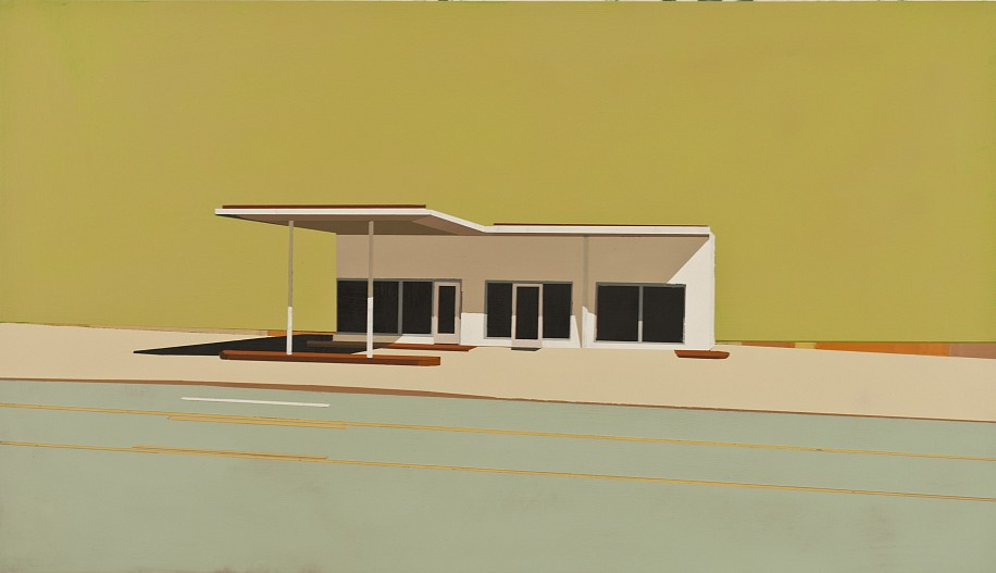 Mark Bradley-Shoup, Honey Suckle Bloom Gas Station in Sea Urchin 2012, oil on panel