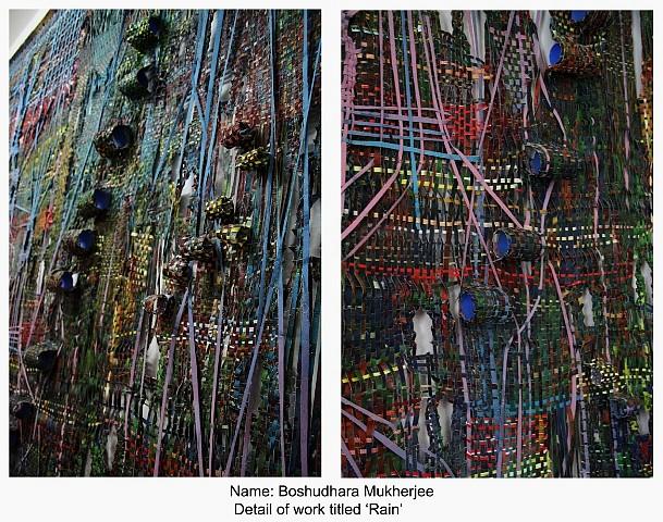 Boshudhara Mukherjee, Rain (Detail) 2013, mixed media on canvas