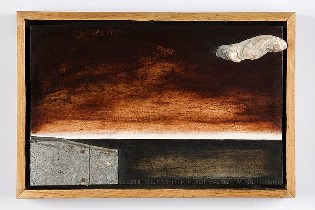 Anne Minich, Flight from Philadelphia 2008, oil, shell and found metal on wood