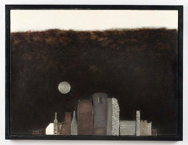 Anne Minich, My Philadelphia II 2008, metal, oil, ivory shard on wood panel