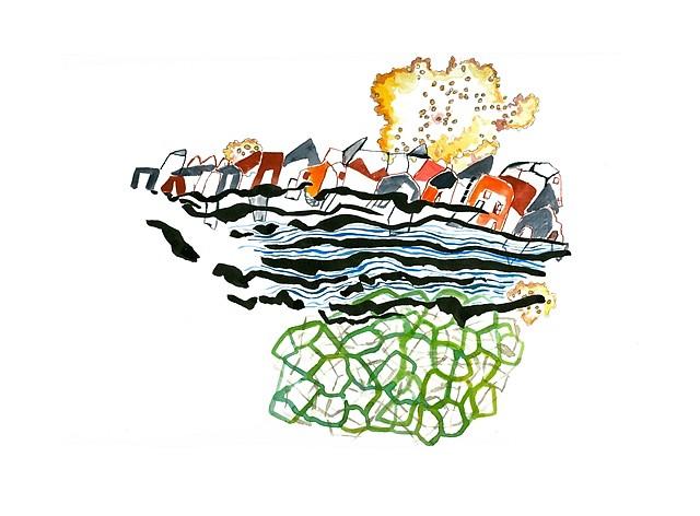Ilyana Martinez, Conspicuous Cloud 2012, watercolor, gouache, ink and pencil on paper