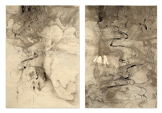 Sky Pape, Untitled (Image 3939), diptych 2012, sumi ink on paper