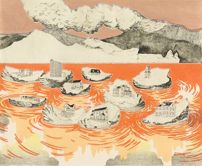 Serena Perrone, Settlements 2010, 7-color moku hanga, etching drypoint, chine colle