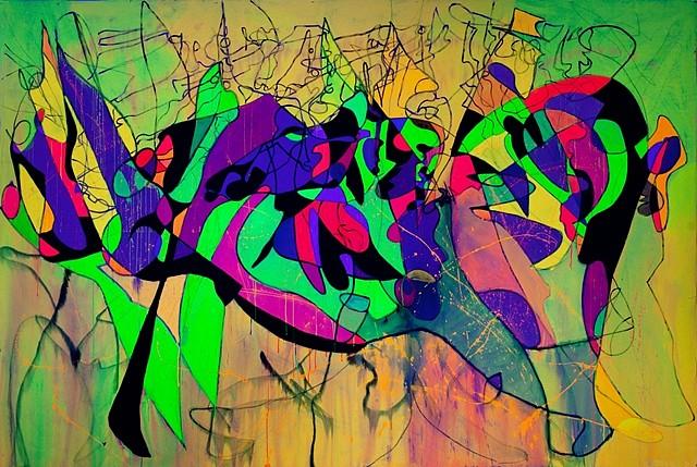 Elaine Defibaugh, Fancy Dance 2012, florescent acrylic paint on canvas