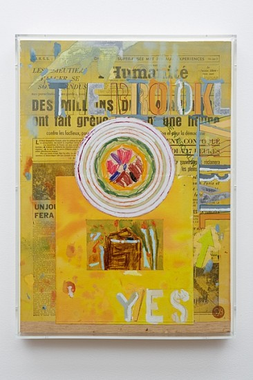 Phong Bui, Yes 2011, gouache, watercolor, oil crayon, white-out, with collage element