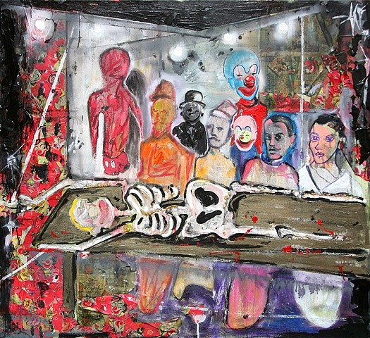 Scooter LaForge, Skeleton Autopsy 2012, oil on canvas
