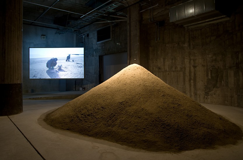 Mia Yamashita + Naoto Kobayashi, A Spoon Made From the Land 2009, iron spoon, sand pile, HD video