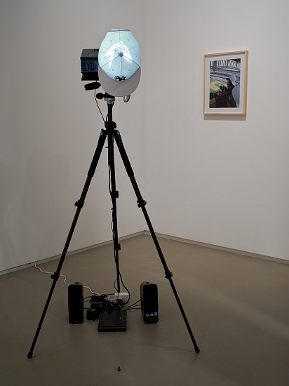 Mia Yamashita + Naoto Kobayashi, Major League Birdwatching 2011, installation, baseball cap, tripod, HD video