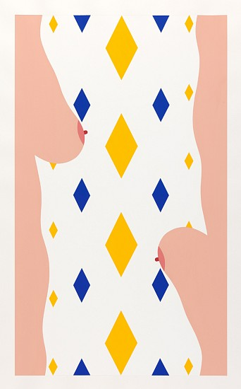 John Franklin, Not Titled (Flipped Flesh Profiles with Blue and Yellow Diamonds) 2010, vinyl acrylic paint on watercolor paper