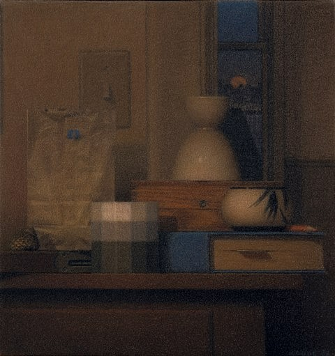 Robert Kogge, Still Life with Blue Moon 2002, colored pencil, ink wash on canvas