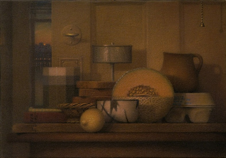 Robert Kogge, Still Life with Opened Door 2005, colored pencil, ink wash on canvas