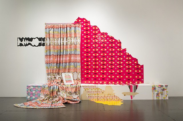 Julie Alpert, Mantel 2013, paint, wood, custom fabric, vinyl