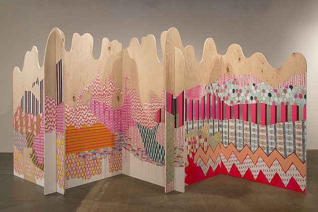 Julie Alpert, Folding Screen 2013, paint and collage on maple
