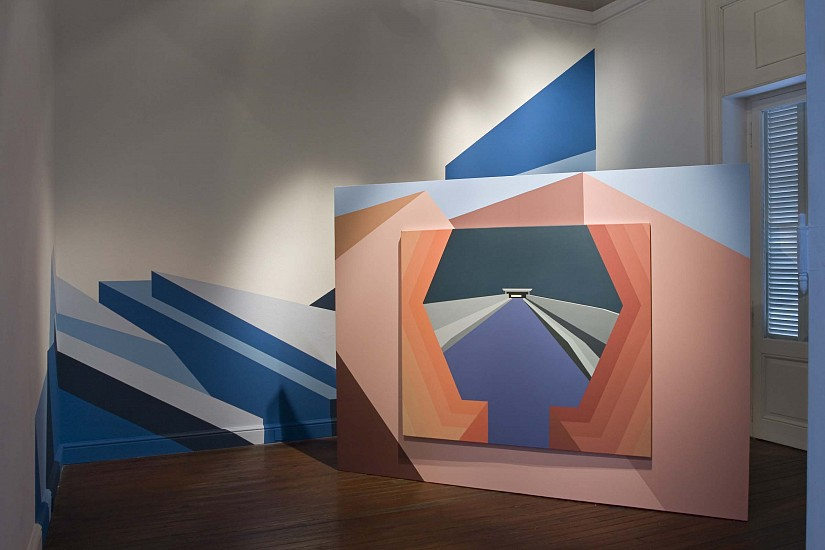 Leila Tschopp, Ideal Models 2011, Installation; Latex and acrylic painting on wall and canvas; Wood structures.