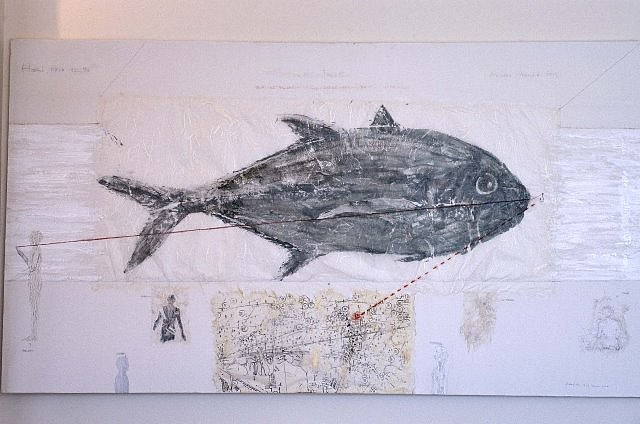 Frank Leon, Hari Trip #98 1999, gyotaku-crevalle jack (fish print) on rice paper, acrylic, graphite, watercolor on canvas