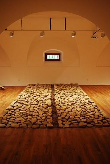 Attila Pokorny, Stone Carpet 2011, limestone, roots