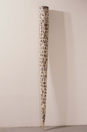 "Janis Stemmermann, Tall Horn with Words From Jeanette Winterson's ""The Passion"" 1992, wood, tempera"