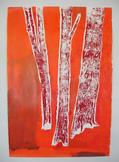 Meghan Gerety, Red on Orange Trees 2012, block print ink and acrylic on paper