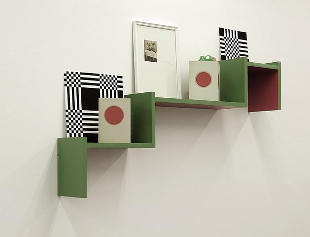Ekaterina Shapiro-Obermair, Polki (one of two objects) 2009, wood, varnish, paper, goauche, glass