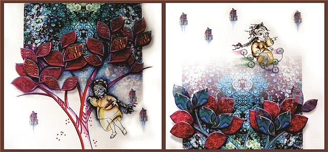 Maria Aguilar Balsells, Ixquic aun tapizca cafe, Ixquic busca un nuevo paradigma 2013, acrylic/digital art