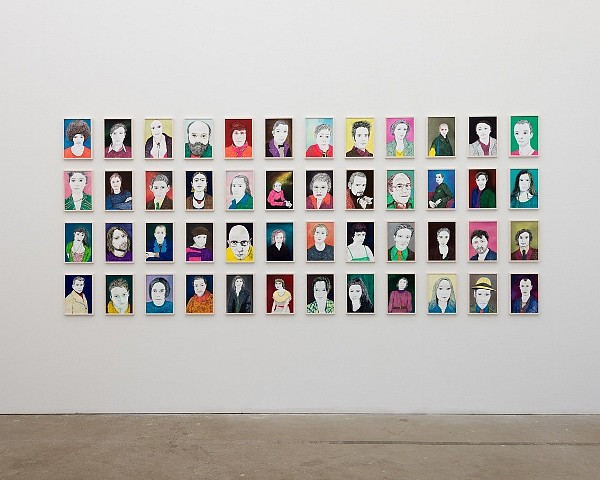 Grit Hachmeister, 48 Portraits, installation view 2012, oil and ink on paper
