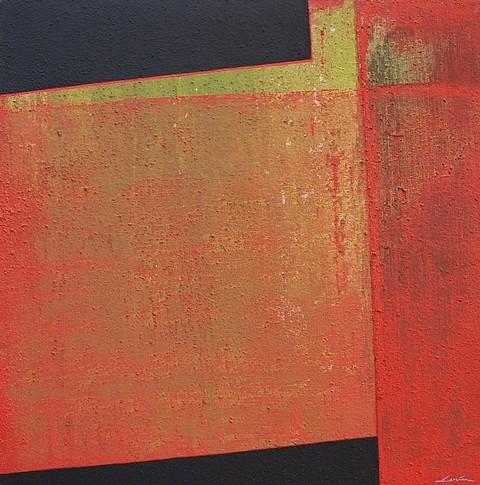 Silvia Lerin, Rojo en transparencia sobre verde 2008, mixed media on canvas