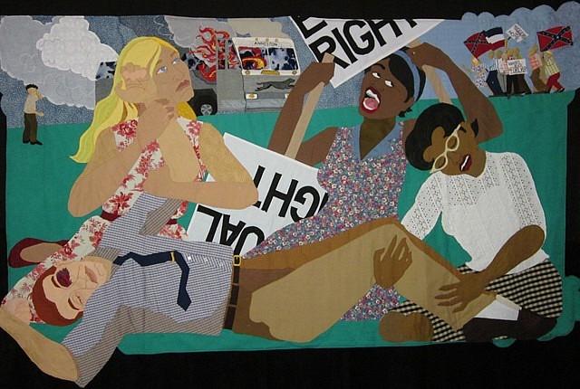 Dawn Williams Boyd, Three Marys: Freedom Riders 2012, fabric, buttons
