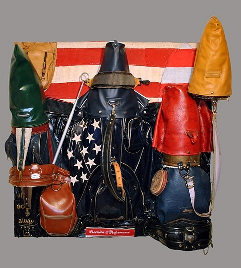 Charles McGill, The Patriots 2011-12, reconfigured golf bag parts on reinforced wood panel