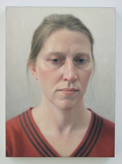 Robert Bauer, Erica in a Red Sweater 2012, oil on canvas, mounted on wood