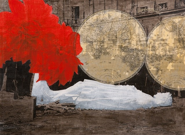 Dread Scott, Vendome Column, Toppled, 1871 2011, acrylic and xerox transfer on canvas