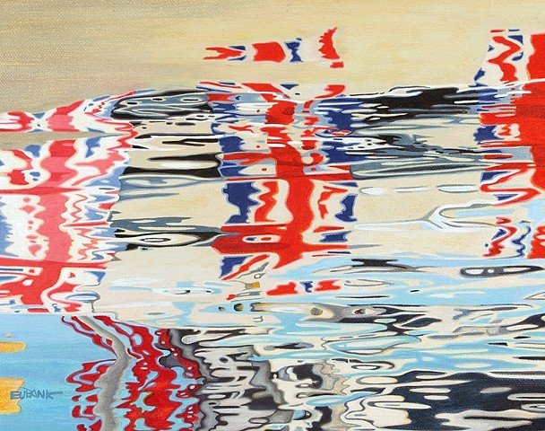Danielle Eubank, Team Great Britain on the Thames 2013, oil on linen