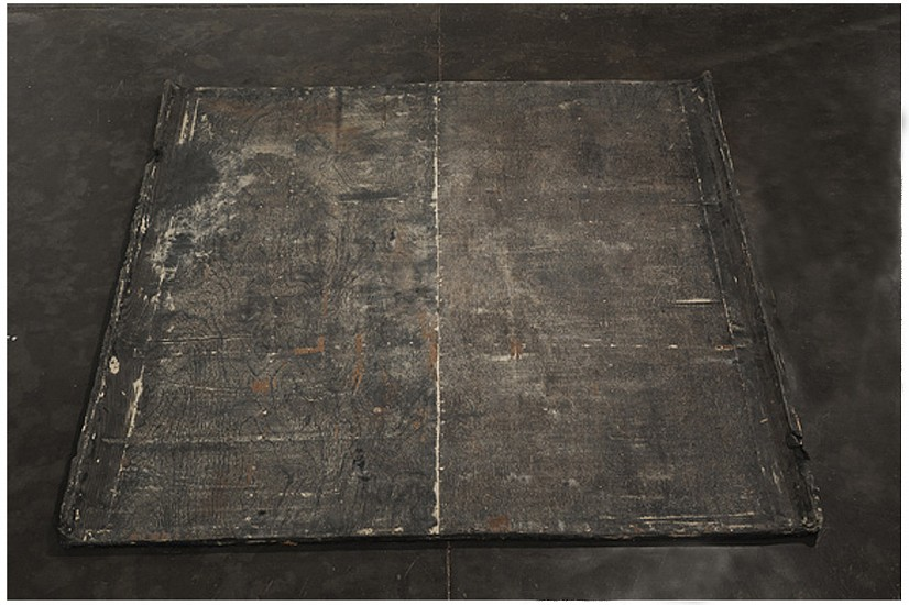 Hemali Bhuta, Flooring (part of Point-Shift and Quoted Objects) 2012-2013, latex rubber smeared with P.O.P.
