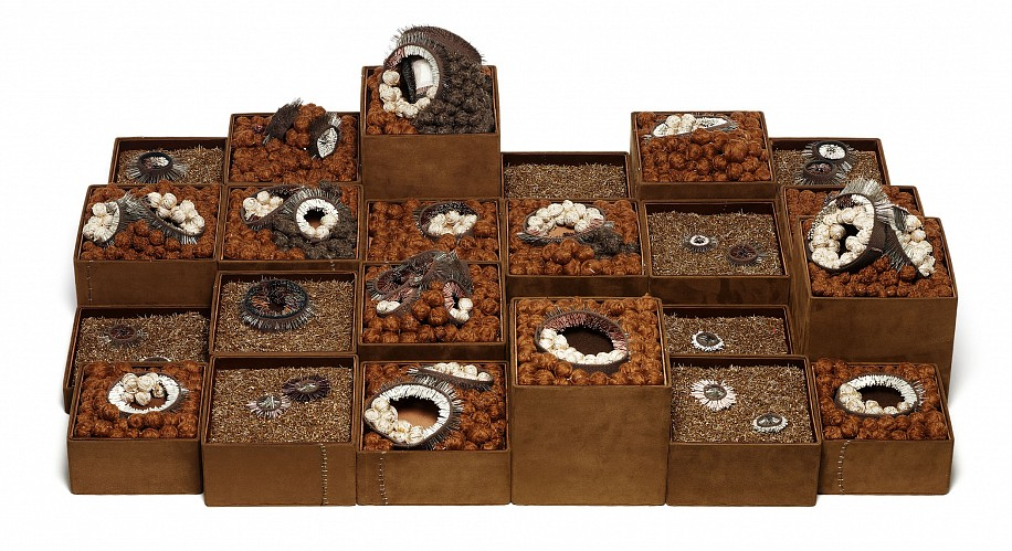 Steven and William Ladd, Dad 2010, archival board, fiber, beads, metal
