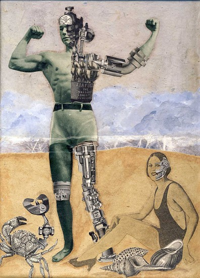 Cathy Horner, Android Beach 2011, collage on canvas