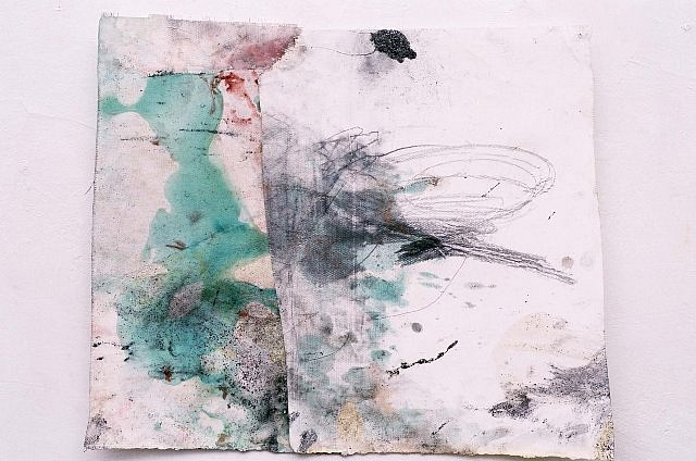 Cora Cohen, #2-97 1997, acrylic, copper, graphite, pencil on wall paper