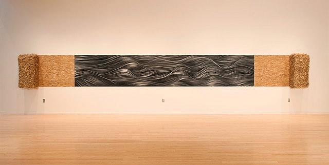 Hong Zhang, Prairie Waves 2012, mixed media ( charcoal drawing, straw bales and board)