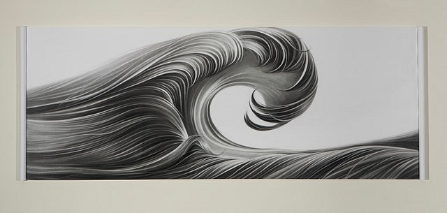 Hong Zhang, Curl 2013, charcoal on panel