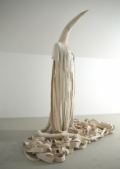 Antonella Piemontese, She wore bandages for protection against injury, impact and transmission 2012, Fabric, string, dress form mannequin