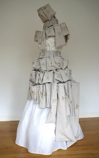 Antonella Piemontese, She wore 100 pockets to fill with memories 2013, Ink on fabric, dress form mannequin