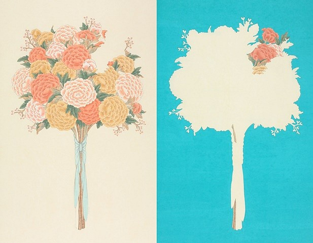 Seongmin Ahn, Portrait of Peony (blue pair) 2013, ink and color on mulberry paper