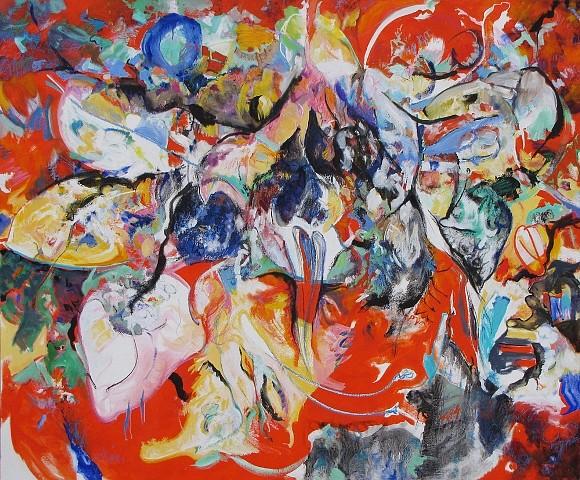 Calvin Grimm, Georgia's Black Iris and Michele's Amaryllis 2012, oil on canvas