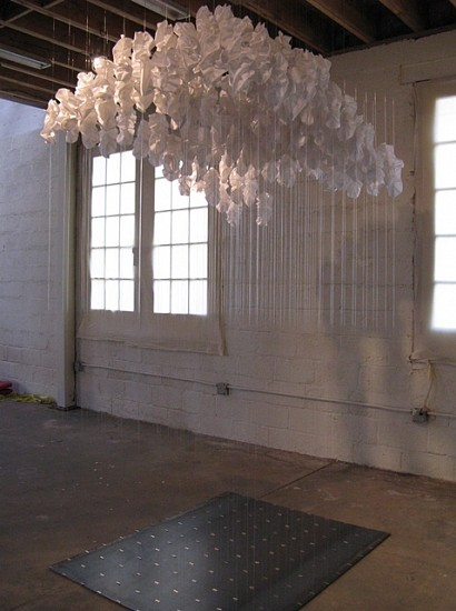 Ana B. Hernandez, My Head in the Clouds 2012, fabric, mono filament, magnets