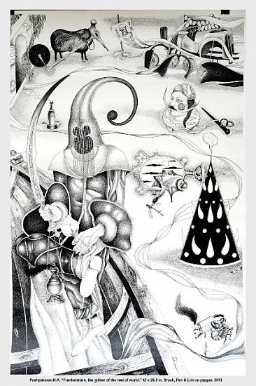 K.K. Pushpakaran, Frankenstein, The Gibber of the rest of the World 2013, brush, pen and ink on paper